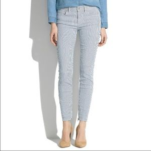 Madewell Skinny Striped Denim with ankle zip 24